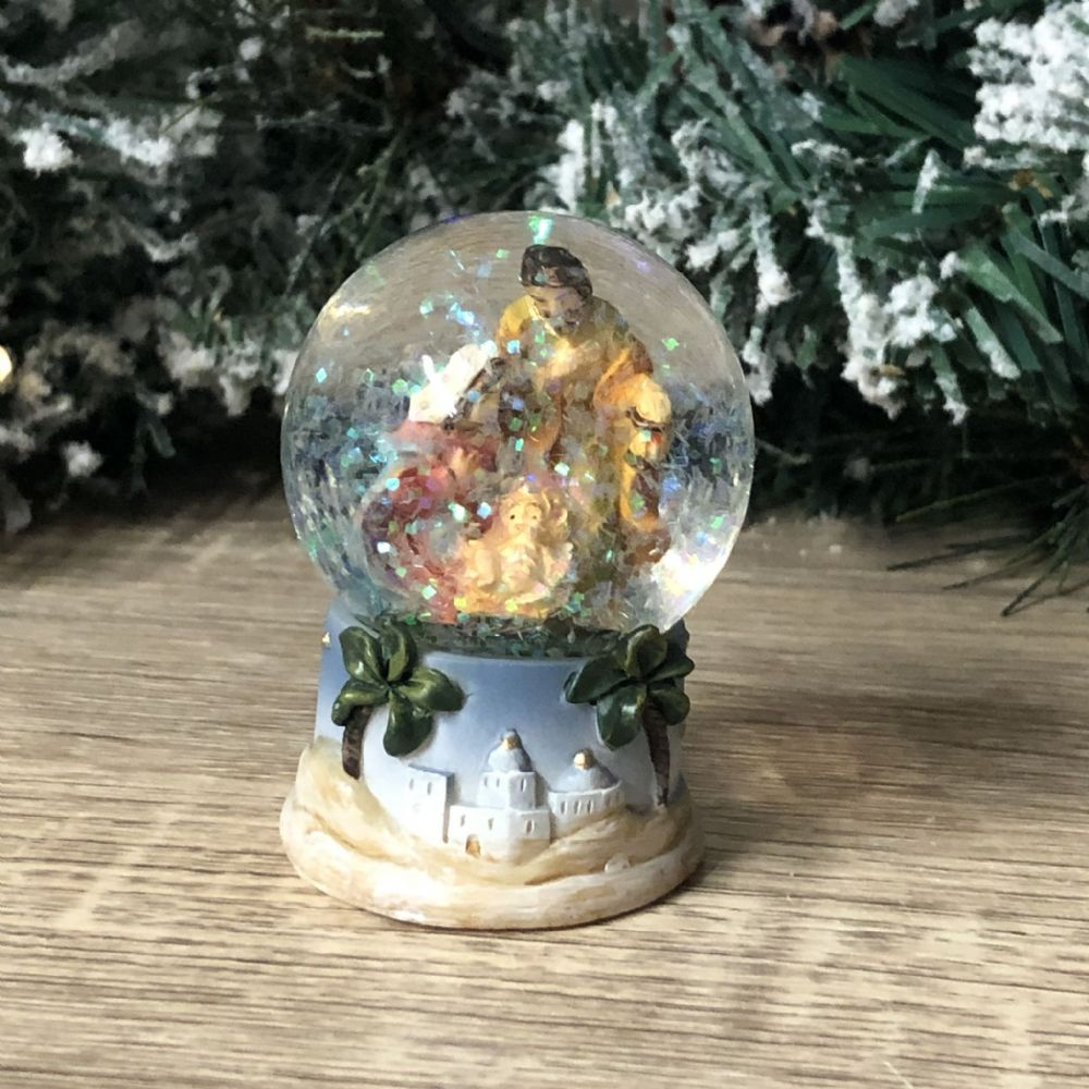 Jerusalem Nativity Holy Family Stable Scene Mini Snow Globe